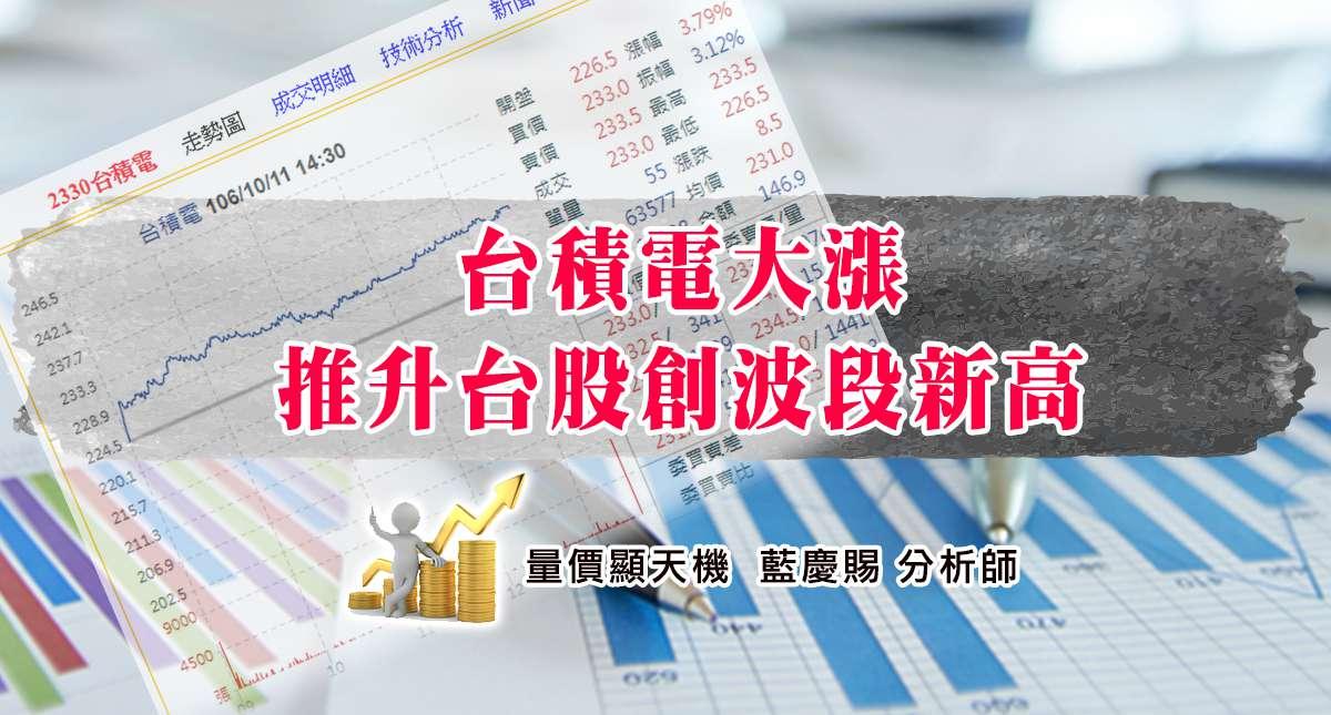 10/11台積電大漲推升台股創波段新高