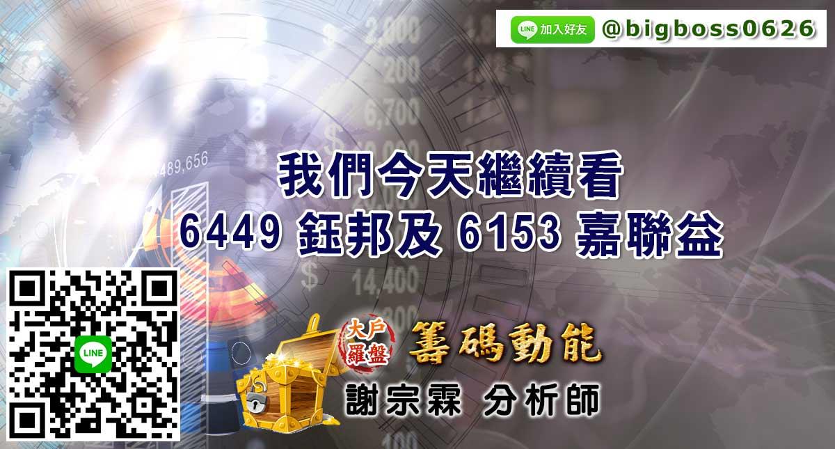 我們今天繼續看6449鈺邦及6153嘉聯益 (圖)