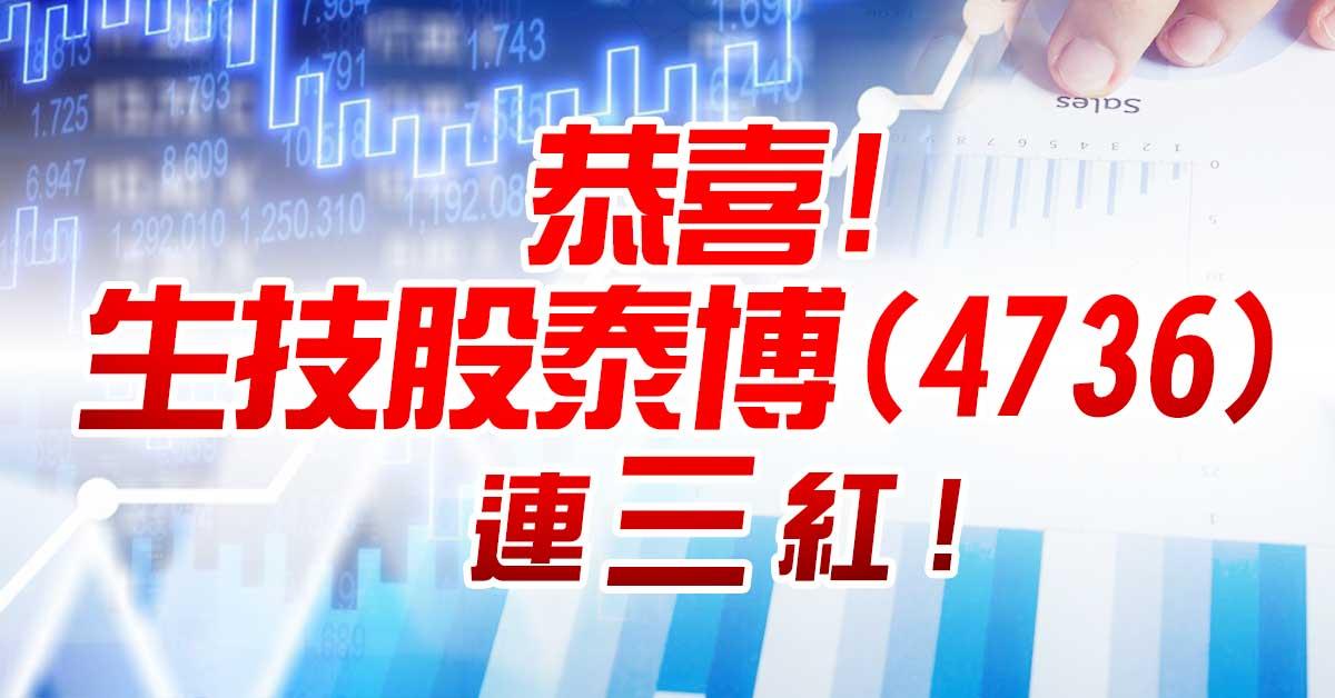 恭喜!生技股泰博(4736)連三紅!