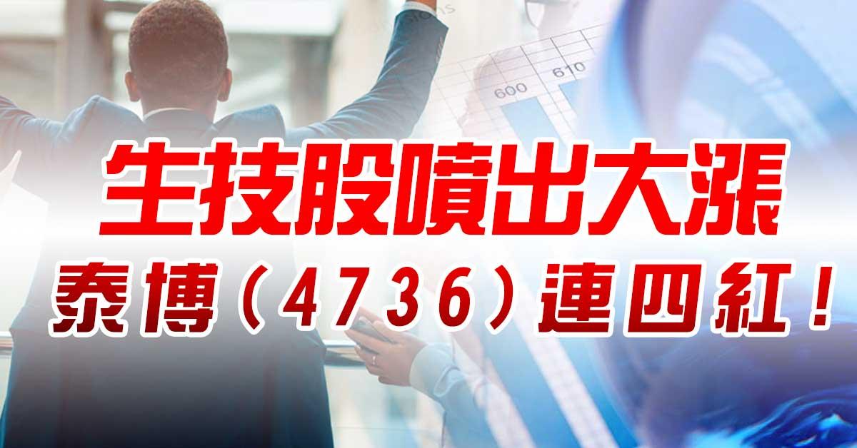 生技股噴出大漲,泰博(4736)連四紅!