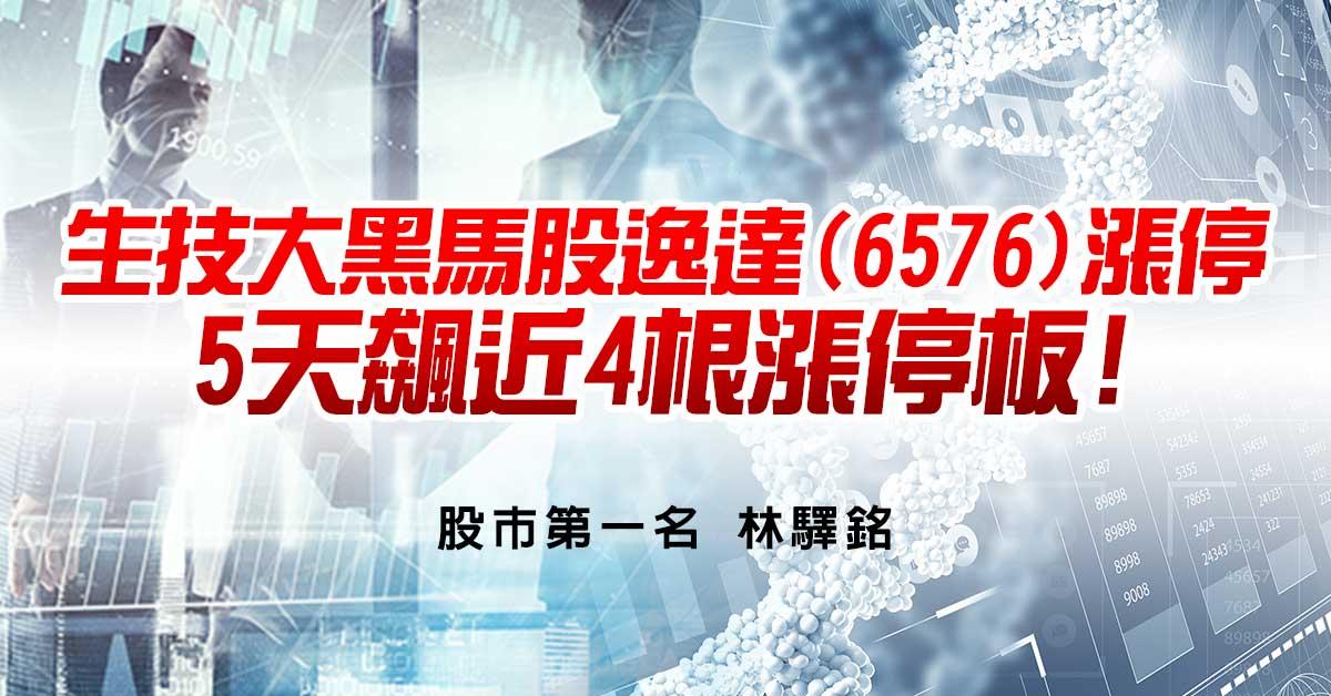 生技大黑馬股逸達(6576)漲停→5天飆近4根漲停板!