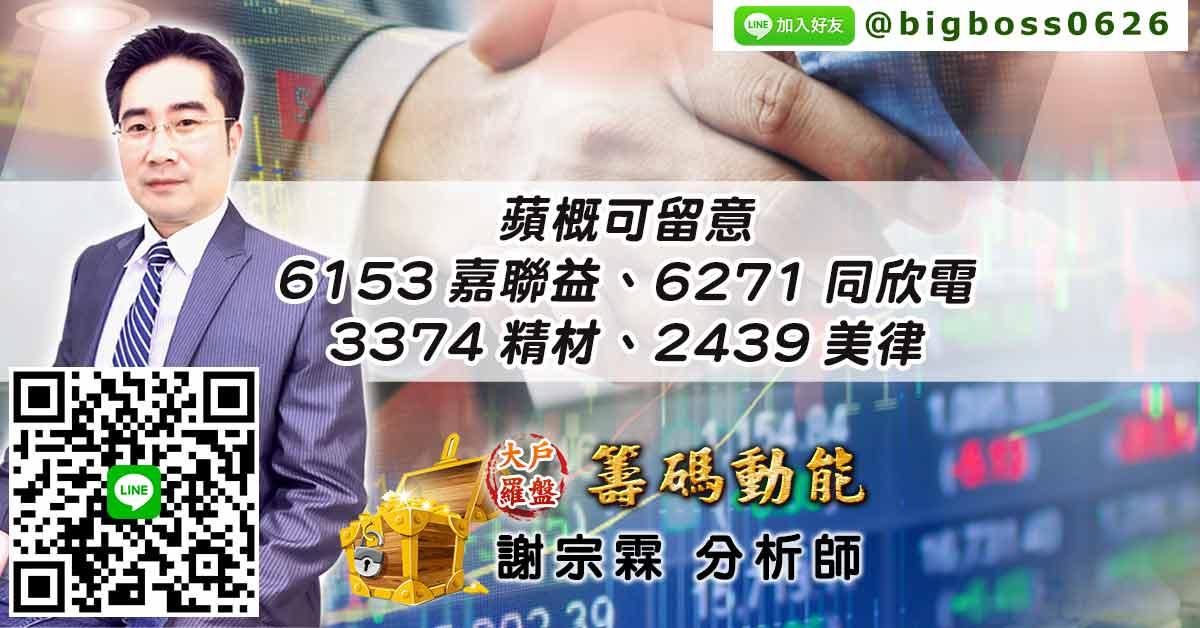 蘋概可留意 6153嘉聯益、6271同欣電、3374精材、2439美律 (圖)