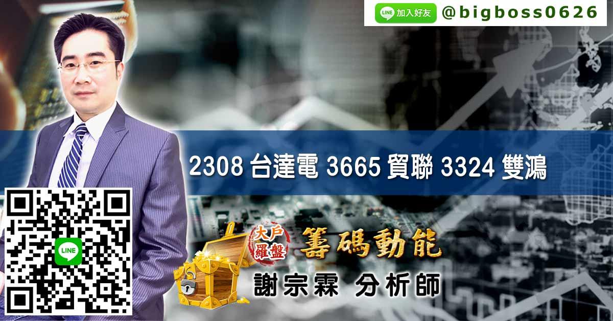 2308台達電 3665貿聯 3324雙鴻