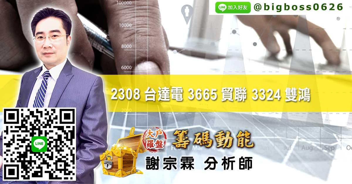 2308台達電 3665貿聯 3324雙鴻 (圖)