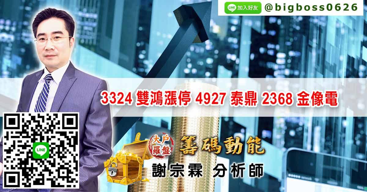 3324雙鴻漲停 4927泰鼎 2368金像電 (圖)