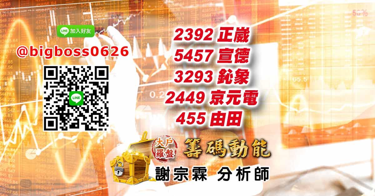2392正崴 5457宣德 3293鈊象 2449京元電 3455由田
